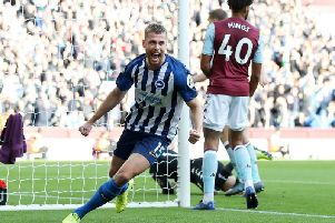 Brighton and Hove Albion defender Adam Webster celebrates his first goal for the club and the opener during a 2-1 loss at Aston Villa.