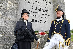 Janet Mummery and Roger Glancefield from 'The Nelson Society'  at the Nelson Monument 'Picture: Malcolm Wells (191021-8761)