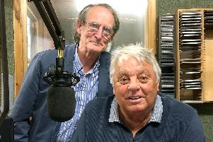Reunited: Nigel Grundy and Pete Cross in the Angel Radio studio.