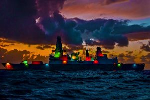 HMS Dragon will be lit up for Diwali. Picture: MoD
