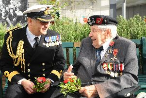 Commodore JJ Bailey, commander of Portsmouth Naval Base with Polish veteran Colonel Otton Hulacki. Picture: Sarah Standing (251019-194)