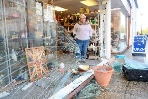 Emsworth Antiques Etc, in West Street, Emsworth, had a car reverse into their shop window on Monday, November 4.''Pictured is: Hilary Bolt, owner.''Picture: Sarah Standing (041119-1124)
