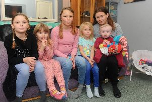 Kirsty Moreton  with her five children, from left, Ruby, eight, Katie, four, Charlie, 10, Pantera, five, and Oscar, seven months old'Picture: Sarah Standing (011119-821)