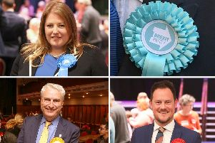 Portsmouth South Tory candidate Donna Jones, with bottom row: Lib Dem candidate Gerald Vernon-Jackson and Labour incumbent Stephen Morgan