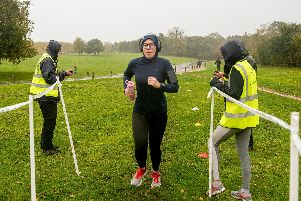 Runners and volunteers brave the strong winds and driving rain at Fareham Parkrun on the Cams Hall Estate