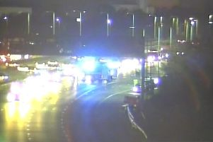 CCTV image of five-car crash eastbound on the A27 at the Eastern Road interchange in Portsmouth on November 5 at around 5.20pm to 5.30pm. Picture: Highways England