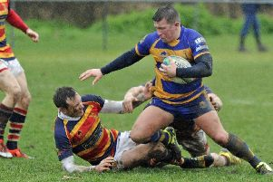 Sam Foster, right, in action for previous club Gosport & Fareham