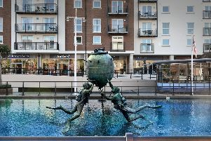 Artist impression of the HMS Vernon monument in a pool at Gunwharf Quays shopping centre