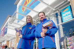 7/11/19''Sneak peak of Smyths toys opening on Saturday 9th of November 2019.''Pictured: Staff Deborah Reynolds and Andy Wood waiting waiting for the big opening.'Picture: Habibur Rahman
