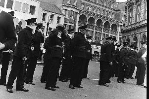Members of the B Specials - some of them with batons at the ready -'take up position in Waterloo Place during the Battle of the Bogside