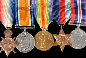 Campaign medalsgiven to anundercover agent from Portsmouth, Paymaster Sub-Lieutenant Alan Mackenzie Rogers, will go on sale in Salisbury on November 20. From left, the collections features his 1914-15 star,British War Medal 1914-1920, Victory Medal, 1939-45 Star and War Medal 1939-45. Picture: Woolley and Wallis