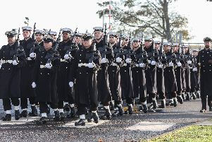 Personnel marching around HMS Excellent on Wednesday. Picture: LPhot Joe Cater
