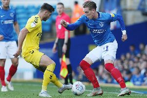 Ronan Curtis in action for Pompey against Fleetwood at Fratton Park last season. Picture: Joe Pepler