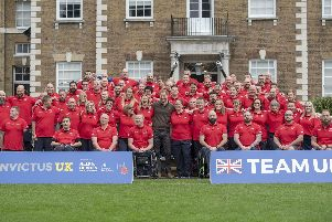 The Duke of Sussex meets team members during the launch of Team UK for the Invictus Games at The Hague, 2020. Picture: Paul Grover/Daily Telegraph/PA Wire