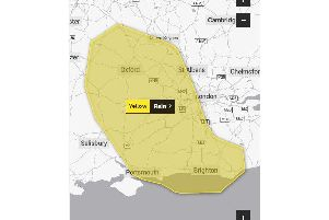 A weather warning for heavy rain has been issued for the Portsmouth area