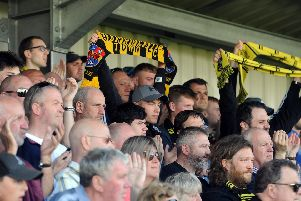 Harrogate fans at Wetherby Road   Picture Tony Johnson