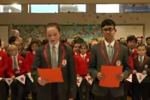 A still from the video of Ark Ayrton Primary Academy's remembrance song