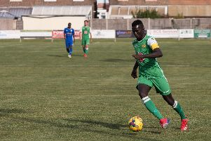 Lamin Jatta in action for Moneyfields