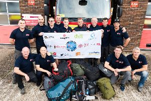 Cosham firefighters are raising money for charity and climbing mount Everest. Yesterday they left for their trip. So far they have raised about 15,000. Picture: Duncan Shepherd
