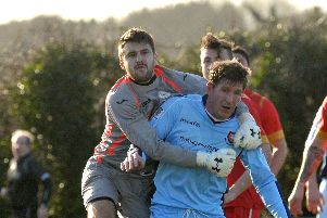 Infinity keeper Tom Boyle in action for Horndean against AFC Portchester in the Wessex League in 2014