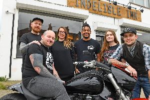 Gez Bradley (seated on his Suzuki VZR 1800cc Custom Intruder)  with, from left, Harry Hillyer, Hannah Bradley, 'Silk', Jenny Ryan-Fecitt, and Thomas Hoar 'Picture: Malcolm Wells (061119-9671)