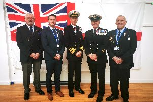 Remembrance St Vincent College Gosport. In the photo left to right: Ken Cast, Member of the St Vincent Association, Andy Grant, St Vincent Head of College, Admiral Sir Alan Massey, Eddie Seaborne, St Vincents Director of First Aid Training, Mentor and Tutor, Ian Wellington, Drill Enrichment Teacher