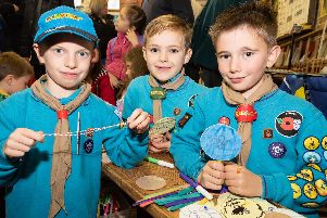 Beavers (L-R) Zaxh Davey (7yrs), Ben Taylor (7yrs) and Elliott Simmons (7yrs). Picture: Duncan Shepherd