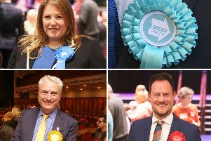 Portsmouth South Tory candidate Donna Jones, with bottom row: Lib Dem candidate Gerald Vernon-Jackson and Labour incumbent Stephen Morgan. Pictures: Habibur Rahman/PA