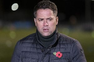 Michael Owen presenting for BT Sport amid the powercut at Harrogate