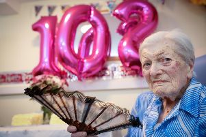 Guillemette Sadler is 102. She is pictured at Green Meadows, Denmead. Picture: Chris Moorhouse     (021119-04)