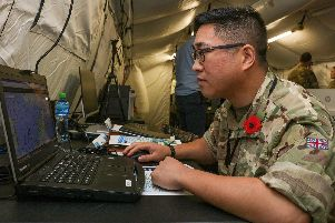 Lieutenant Sam Yee, 35, a Royal Navy reservist based at HMS King Alfred on Whale Island, was one of five British personnel at the IMSC in Bahrain. Photo: LPhot Rory Arnold