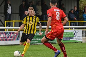 Jamie Hood in action in his final home league appearance for Brakes against Alfreton.