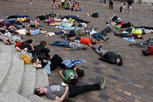 Extinction Rebellion protest and die-in in Portsmouth Guildhall Square earlier this year. Picture: Duncan Shepherd