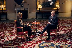 The Duke of York , speaking for the first time about his links to Jeffrey Epstein in an interview with BBC Newsnight's Emily Maitlis. Picture: Mark Harrison/BBC/PA Wire