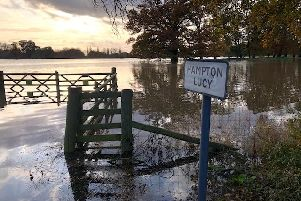 Floods waters at Hampton Lucy. Photo by Michael Barnwell.