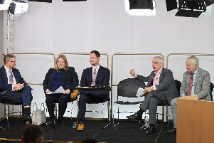 The University of Portsmouth and The News, Portsmouth, jointly hosted an election hustings for Portsmouth South at the Eldon Building, Portsmouth, on Tuesday, November 19.''Pictured is: (l-r) Mark Waldron, editor of The News, Portsmouth, Conservative party Donna Jones, Labour party Stephen Morgan, Brexit party John Kennedy and Liberal Democrat party Gerald Vernon-Jackson.''Picture: Sarah Standing (191119-2571)