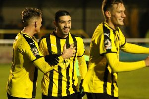 Jordan Murphy is congratulated after breaking the deadlock against Banbury. Picture: Tim Nunan