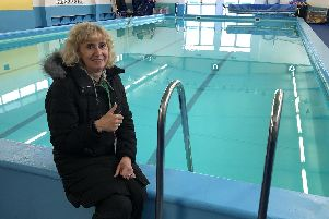 Kate Hedges on the edge of the swimming pool at Leesland Junior School, Gosport. Picture: David George