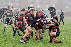 Fareham (red) in action during their win at Bognor.  Picture by Kate Shemilt