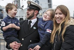 HMS Cattistock returns to Portsmouth after 10 weeks away at sea. Photo: LPhot Barry Swainsbury