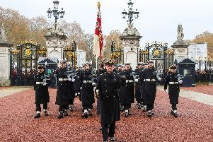 The Royal Navy marched out from Wellington Barracks, London and marched down The Mall led by the Band of HM Royal Marines and made their way to Buckingham Palace where they will take over duties from 1st Battalion Grenadier Guards.  LPhot Rory Arnold