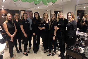 The team at Charter Cutting Company in Emsworth who held a charity pamper night to raise money for Rowans Hospice.