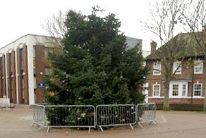 The original Christmas tree which the council said was 'damaged in transit'. Picture: Kim Fuller