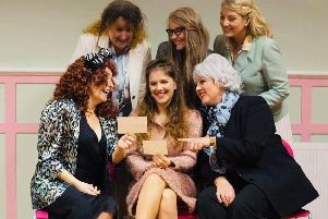 The cast of Portchester Players' production of Steel Magnolias at The Ashcroft Arts Centre, Fareham, November 2019.'Back from left: Hayley Smither, Becky Garnett, Jacquie Arnott; front from left: Sue Rourke, Katie Winter, Kerri Jeffrey