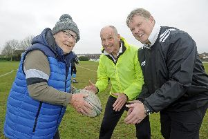Malcolm Savage (left), coach Martyn Webb (centre) and organiser Dougie Leask. Picture: Ian Hargreaves  (231119-2)