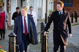 Sir Keir Starmer and MP Stephen Morgan arriving at The Point, Old Portsmouth. Picture: Habibur Rahman