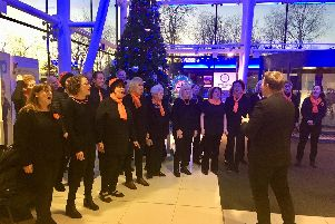 Carol singers at the launch of Christmas festivities at Queen Alexandra Hospital