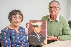 Margaret Parkes, 73, and her husband Dave Parkes, 77 with a picture of their son Simon Parkes who vanished aged 18 on December 12 in 1986 in Gibraltar. Picture: Habibur Rahman