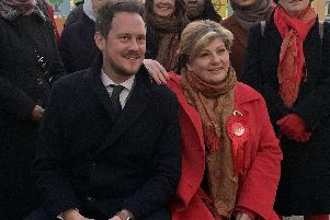 Organisers of the Chatterbox Pavilion in Guildhall Walk with front, Labour's Portsmouth South candidate Stephen Morgan and shadow foreign secretary Emily Thornberry on December 2. Picture: Ben Fishwick