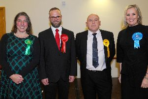 The four Gosport election candidates at the hustings at St Faith's Parish Centre in Lee-on-the-Solent, on Monday, December 2. Zoe Aspinall, Green Party, Tom Chatwin, Labour Party, Cllr Martin Pepper, Liberal Democrats and Caroline Dinenage, Conservative Party. Picture: Sarah Standing (021219-2652)